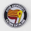 Pedaç brodat acció antifeixista Països Catalans estelada i bandera roja