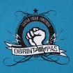 Camiseta de tirantes azul Obrint Pas puño de chica