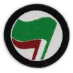 Pedaç brodat antiespecista banderes verda i roja ø73mm